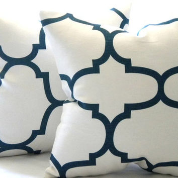 pillow cover natural white and navy pillow cover 18 x 18 accent pillow