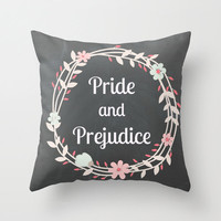 Pride and Prejudice Pillow: Home decor, couch pillow, library, librarian, Jane Austen, typography, words, writing, books, chalkboard