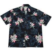 poipu black hawaiian rayon shirt
