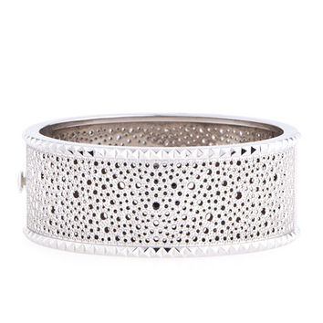 Roberto Coin Rock and Diamond Wide 18K White Gold Bangle with Diamonds