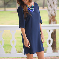Drape Lengths Dress, Navy