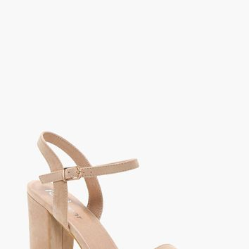 Lauren Block Heel Barely There Heels | Boohoo