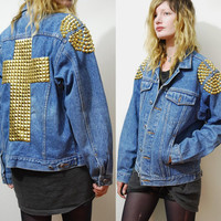 90s Vintage STUDDED CROSS Denim Jacket Pyramid / Spike Studs ooak Grunge Punk Gold stud Shoulders oversized vtg S M