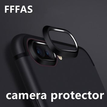 FFFAS Cellphone Camera Lens Film Case Protector Drop Fall Protect Metal Cover for Apple Iphone 7 8 X Plus Guard Black Gold Rose