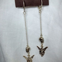 silver skull chain earrings with angel charms
