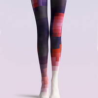 "Women's Fashion ""The Color Mosaic"" Printed Pattern Opaque High Waist Tights Pantyhose VK0141 by Fashnin.com"