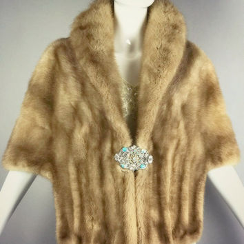 ViNtAgE Mink Real Fur Cape Stole Opera Coat Wedding Jacket Shawl Wrap Bridal Bombshell 50s Glam 60s Stroller