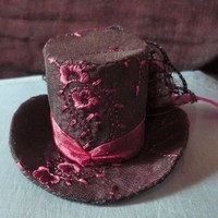 Cunene Goth Victorian Dark Purple Ribbon Mini Top Hat