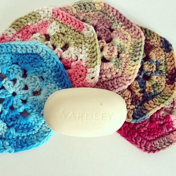 Set of 2 Cotton Flower Handmade Crochet Washcloths - Pick Two Colors - Perfect Stocking Stuffer - Handmade Gift Ideas