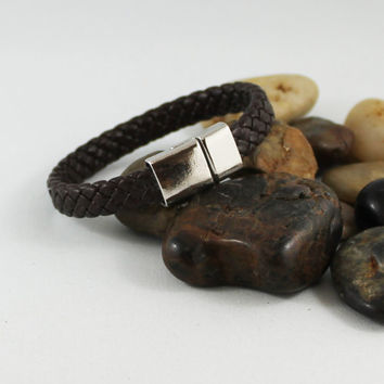 Mens Brown Braided Leather Bracelet, Silver Magnetic Clasp, Gift Idea for Him