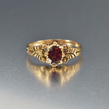 Antique 10K Gold Garnet Ring Victorian Engagement