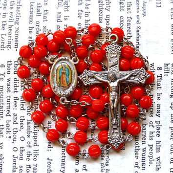 Our Lady of Guadalupe Rosary - Catholic Rosary, Cherry Red Czech Glass Melon Beads