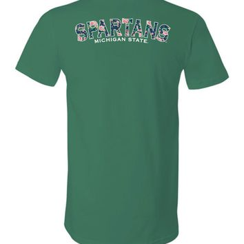 Official NCAA Michigan State University Spartans MSU Sparty Flower Pattern Unisex V-Neck T-Shirt - 35ms5c