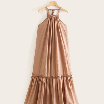 Tie Back Ruffle Hem Halter Neck Dress