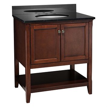 Solid Wood Bathroom Vanity Cabinet in Chestnut Finish