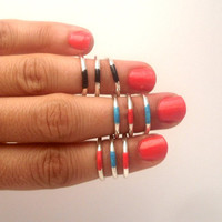 3 Above the Knuckle Hot Pink Strips Silver Rings - set of 3 stackable silver rings  Above the Knuckle Rings  set of 3