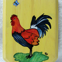 Hand Painted Rooster, Wall plaque