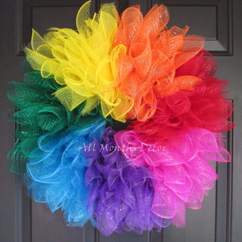 Spiral Rainbow Deco Mesh Wreath Small