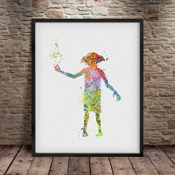 Harry Potter Dobby, Dobby harry potter Poster Print, Wall Decor, Artwork- Painting, Illustration, Home Decor, Kids Decor, Nursery Decor- a7