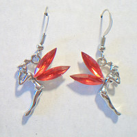 Red Winged Fairy Earrings Whimsical Magical Pixie Jewelry Fashion Accessories For Her