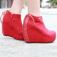 Ladies Loved Beautiful Drawstring Red Wedges : Wholesaleclothing4u.com