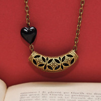 Filigree Pendant with Little Black Heart Bead, Antiqued Brass Chain Necklace