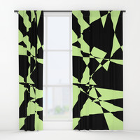 Lime And Black Puzzle Art Window Curtains by kasseggs
