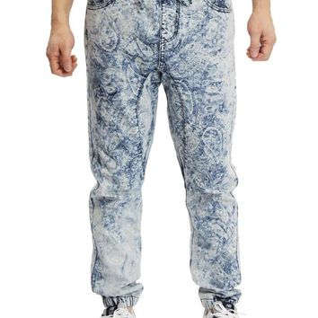 Men's Paisley Print Denim Jogger Pants JG837 - S2E