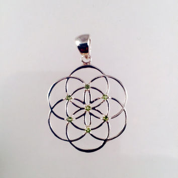 Sacred Geometry, Sterling Silver Seed of Life Pendant with Light Green Sapphires