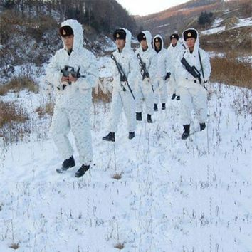 Outdoor Snow Hunting Winter Camouflage Sniper Ghillie Suit White Camo Jacket Pants Clothes Climbing Sports Training Clothing