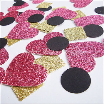 Party Confetti, Glitter Hearts, Hot Pink, Black And Gold, Bridal Shower, Table Scatter, Wedding Decoration, Valentines Day Supply, 150 Piece