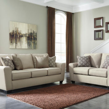 2 pc Calicho collection ecru fabric upholstered sofa and love seat set with squared arms