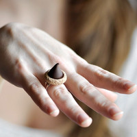 Chocolate Kiss Ring Fashion Jewelry Faux Sugar Cookie in Polymer Clay Statement Piece