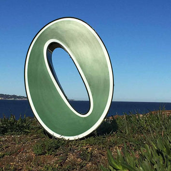GREEN & White Channel LETTER O Industrial Salvage Large Acrylic Front Metal Frame MOD Architectural Retro Block Style Font 21 x 15