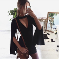 Sexy Black Horn Split Sleeve Bodycon Short Dress