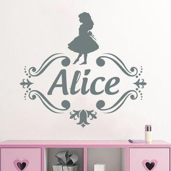 Personalized Name Alice in Wonderland Vinyl Wall Art Sticker Monogram Children Kids Room Decor Customized Name Wall Muarl AY1252