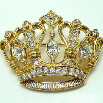 KJL Crown Brooch - Vintage Kenneth J Lane Avon Jewelry