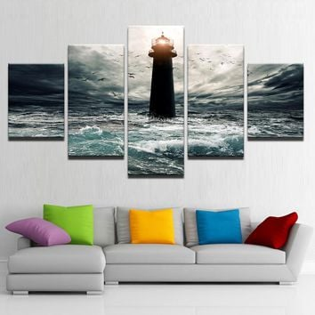 5 Panel Victory Ocean Lighthouse Seascape Storm Print  Wall Art Abstract Poster