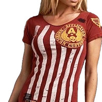 Affliction Old Glory Baby Flag Stripe Tee Shirt Red