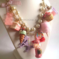 Statement Necklace Kawaii Candy Shop Necklace Dessert Necklace Cotton Candy Pink Gumball Machine Purple Unicorn Couture Necklace