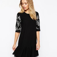 Needle & Thread Embellished Sleeve Crystal Petal Dress
