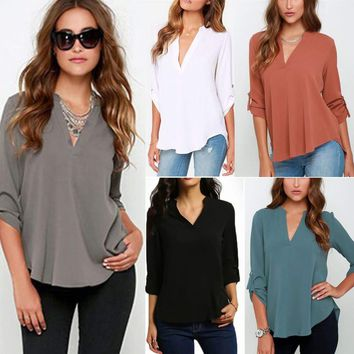 Womens V Neck Chiffon Tops 3/4 Sleeve Loose T Shirts Blouse