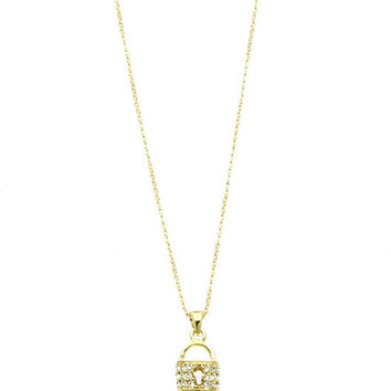 NECKLACE / PAVE CRYSTAL STONE / LOCKET AND KEY PENDANT / METAL / LINK / CHAIN / 16 INCH LONG / 1 1/4 INCH DROP / NICKEL AND LEAD COMPLIANT