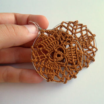 Crochet Earrings in Ochre Brown, Delicate Jewelry, Lace Embroidery Boho Hoops, Summer Fashion Hippie Accessories, Doily Birthday Gifts