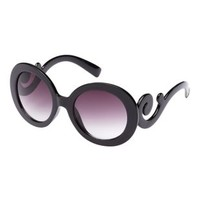 Swirly-Armed Round Statement Sunglasses by Charlotte Russe
