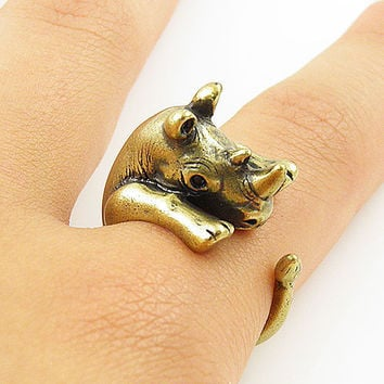 Animal Wrap Ring - Rhino - Yellow Bronze - Adjustable Ring - keja jewelry