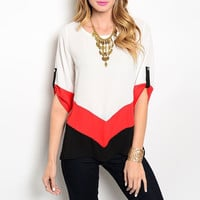 Chevron Detailed Light Blouse in Red White & Black