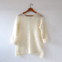 vintage 90s Express mohair sweater. loose knit sweater shirt. cream sweater. sheer sweater.