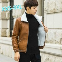 2018 Winter Fashion Men's Coat Leather  Fur Jacket XXS-8XL