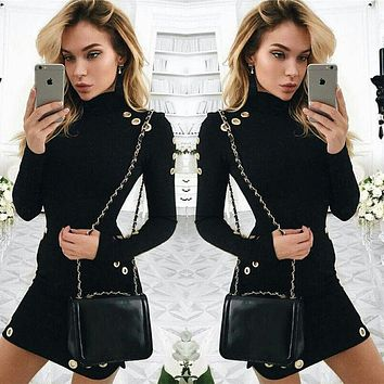 UK Womens Bodycon Long Sleeve Dress Ladies Party Evening Mini Dress Sexy High Neck Mini Dress
